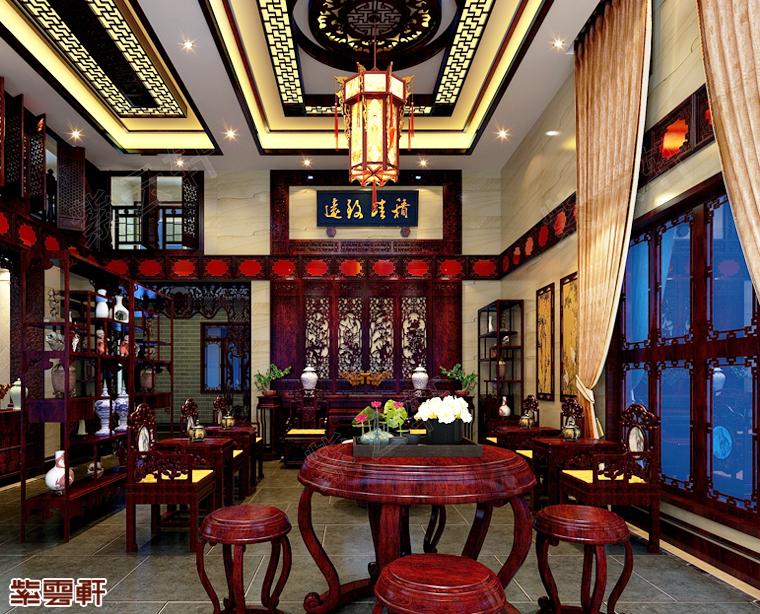 福建漳州市别墅中式装修 疏影横斜 暗香浮动