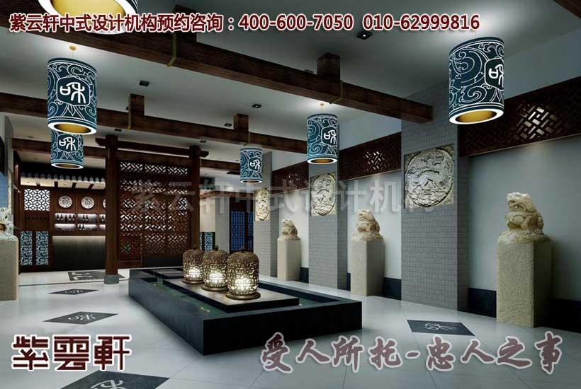 古典中式茶楼装修设计之中堂:古朴的灰墙、沉稳的红木、靛青的宫灯勾勒出历史的深沉