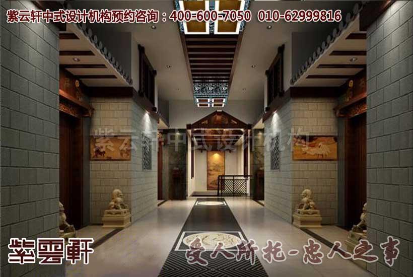 古典中式茶楼装修设计之包间外景:王侯庭院,将相府邸