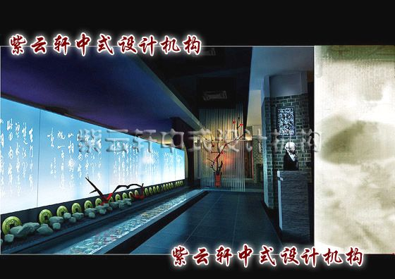 现代中式茶楼装修设计之玄关 新中式茶楼装修设计 广州案例