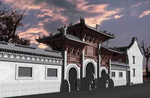 中式建筑物简笔画