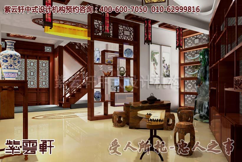别墅中式装修设计-茶室:听琴之流水音,赏茗之陈香味