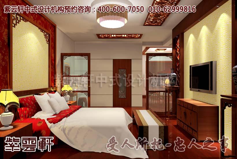 别墅中式装修设计-主卧角度:背景墙遥相呼应,华贵、温馨