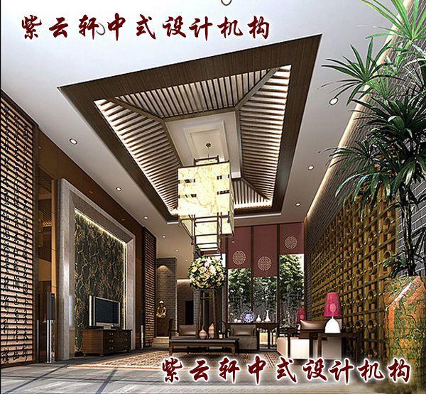新中式四合院装修设计-客厅:高挑大厅中傲然的博古柜与砖雕背景墙融为一体,构成磅礴气势,主人广阔心胸溢现眼前。