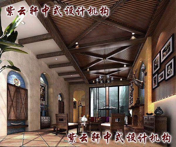 新中式四合院装修设计-中堂:高怀同霁月,雅量恰春风,有容乃大。简练便出意境,局部即可生香