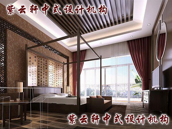 新中式四合院装修设计-主卧:庄正之中不失秀美