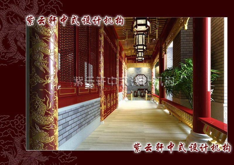 四合院装修-回廊:高悬的宫灯、红漆格窗镶龙柱,处处见身份之尊贵