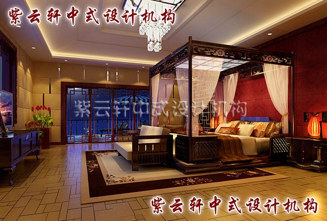 四合院中式卧室另一设计:架子床、轻纱帐,朗月繁星梦不凉,古典浪漫与诗情画意共同谱写一个温馨的居室。