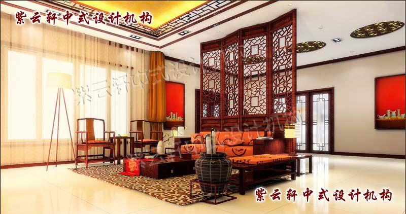 简约中式客厅角度:木棂屏风隔出独立的空间,中式元素的搭配简洁、传神