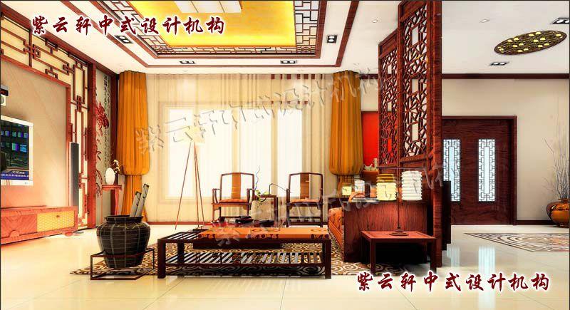 简约中式客厅另一角度:华丽的帷幔,象征富贵的画卷,无不展现着中式的祥和