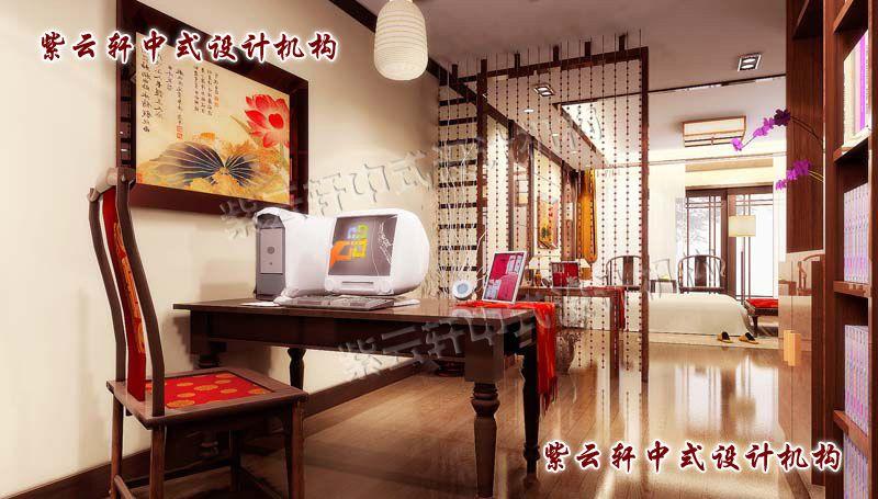简约中式设计卧室之书房:用珠帘虚隔出的书房,将空间利用最大化