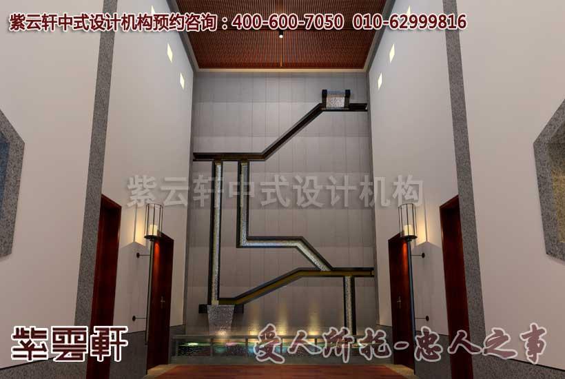 中式装修会所之客房电梯间