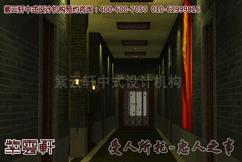 中式会所装修-走廊