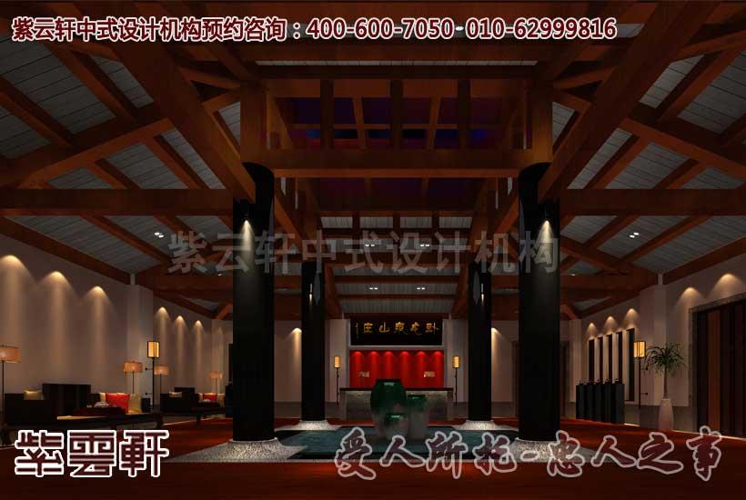 会所中式装修设计之大堂