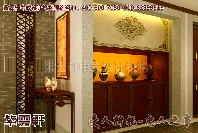 中式风格装修走廊展柜图片