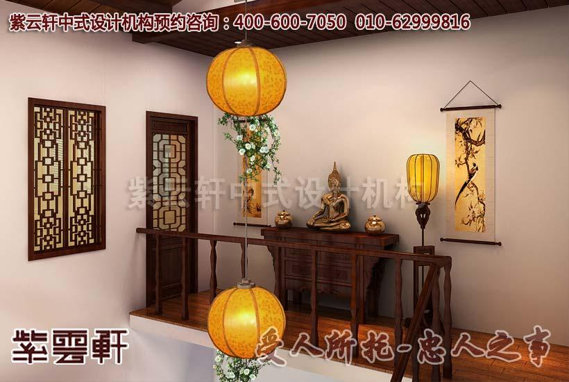 佛堂米色的主色调与红木家具营造雍容华贵的温暖气息以及祥和之感图片