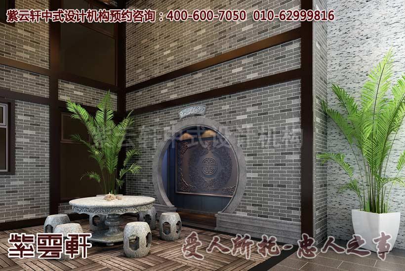 古朴雅致的青砖墙,是中式设计的一大特色