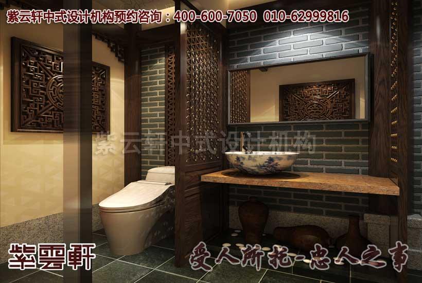 青砖墙、青花洗手池、木格门窗,将古典中式发挥到淋漓尽致