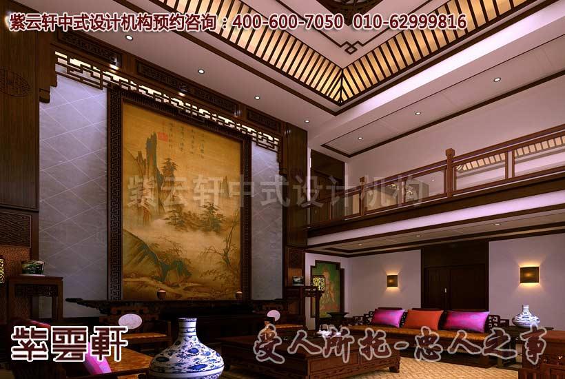 紫云轩现代中式装修案例赏析--客厅角度