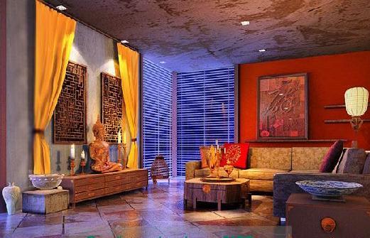 欧式客厅蓝色大花窗帘效果图