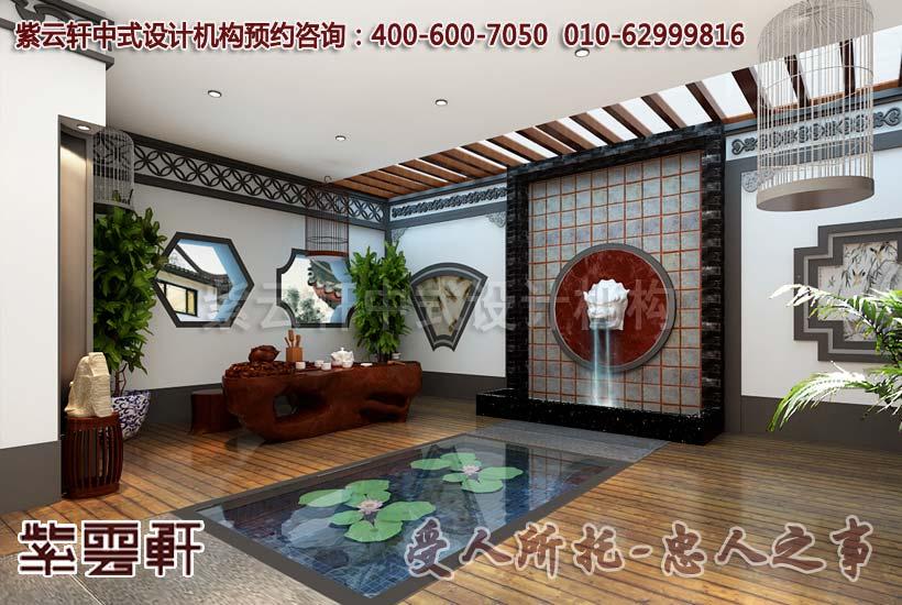 中式客厅装修讲究时尚与古典的统一。客厅的整体布局有着中国传统的对称之美,从墙上的贴饰,植物的摆放,吊顶的设计以及桌椅的放置都能体现这一点。白色的墙壁与深色的家具相互对比,呈现出室内的清新和高贵。绿色的植物能给人以自然的感觉,同时寓意为生机勃勃,助长整个家庭的旺势。