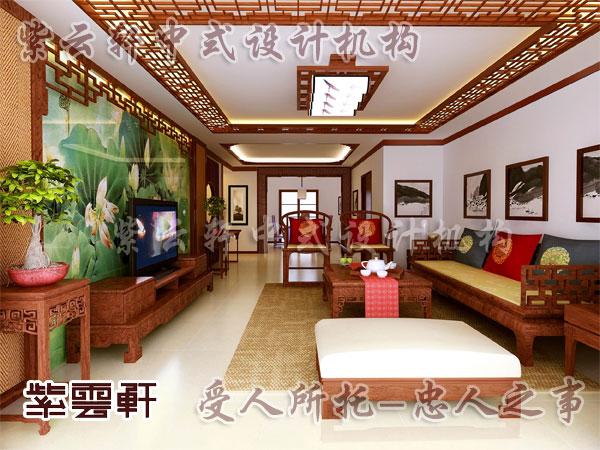 客厅摆设红木简欧装修效果图 中式家装效果图