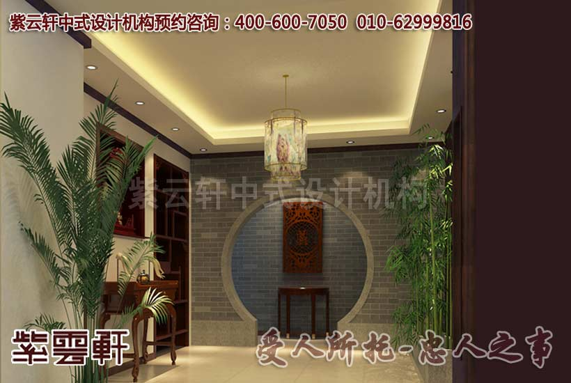 新中式风格别墅门厅设计装修效果图