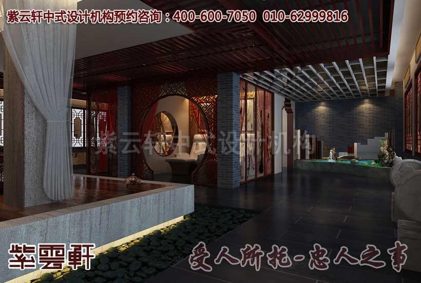 中式休闲会所中医会馆设计装修效果图