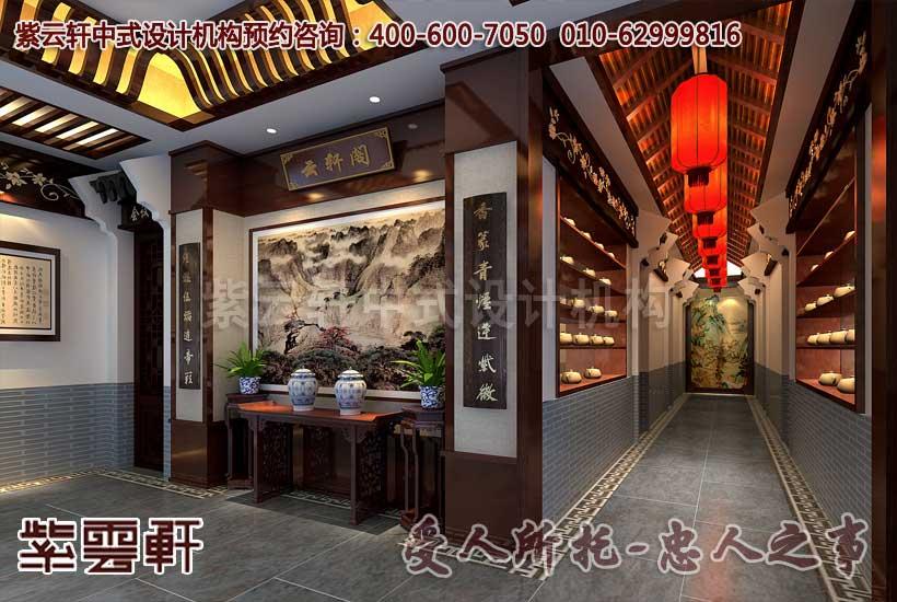 中式茶楼门厅设计装修效果图