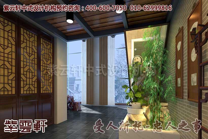 中式茶楼过道设计装修效果图