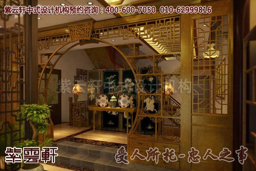 中式休闲会所门厅设计装修效果图