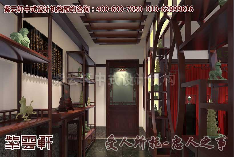 中式休闲玉器会所走廊设计装修效果图