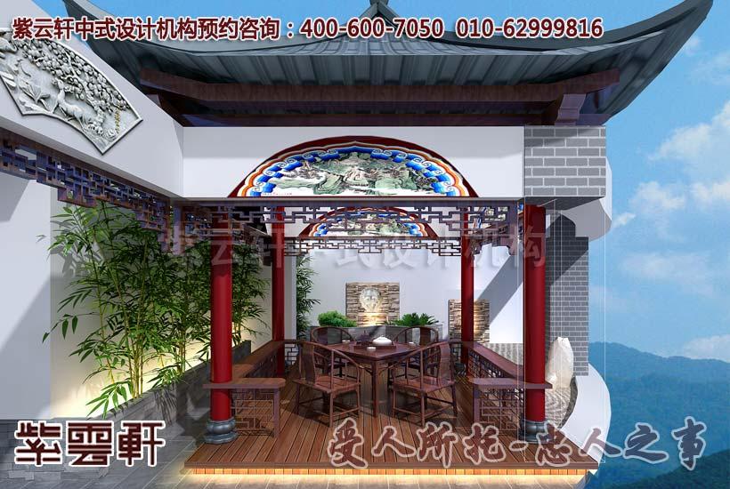 现代中式风格顶楼露台设计装修效果图
