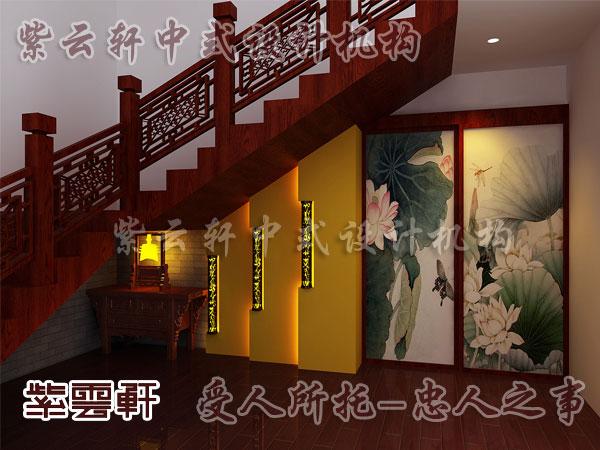 现代中式装修楼梯间效果图