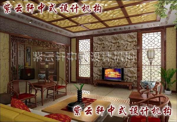 中式家具设计采用了禅意的虚实结合玻璃隔断图片