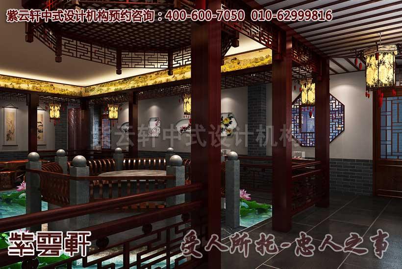 中式休闲会所大厅设计装修效果图