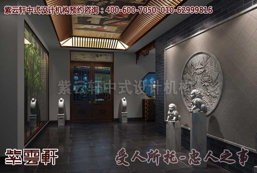 中式休闲会所走廊设计装修效果图