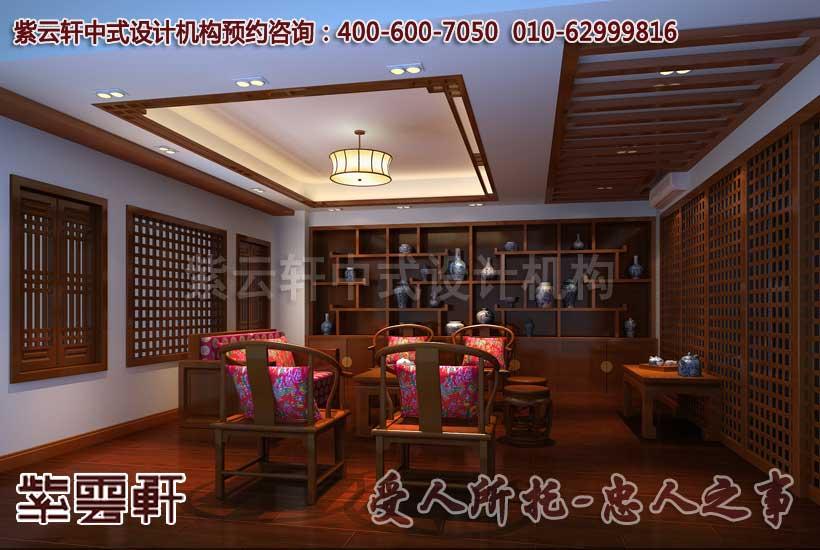 中式茶馆茶艺室设计装修效果图