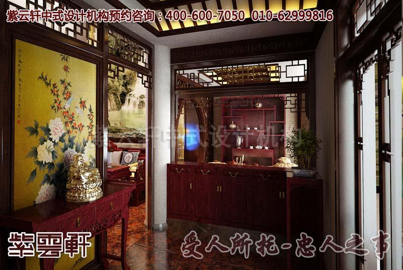中式简约别墅玄关设计装修效果图