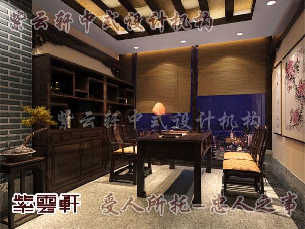 中式书房设计可考虑铺一块玻璃使用更为方便