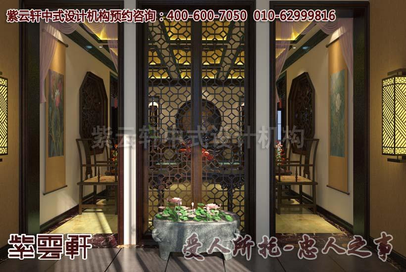 古典中式别墅餐厅阳台设计装修效果图