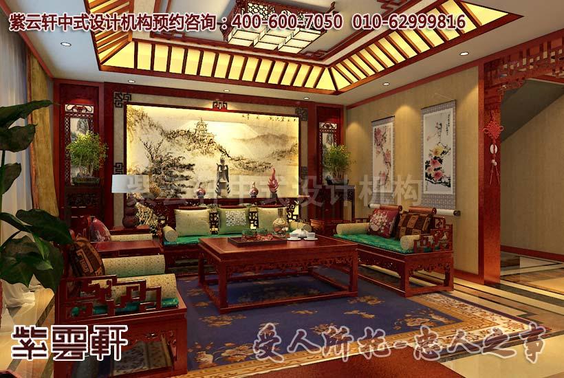 电视背景墙用木栏画屏形成了客厅通往卧室的穿堂,棕红色木材在灯光的