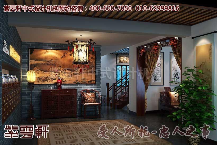中式中医会所门厅设计装修效果图