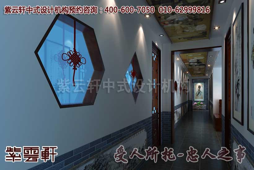 中式中医会所过道设计装修效果图