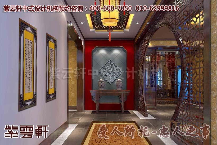 现代中式别墅玄关设计装修效果图