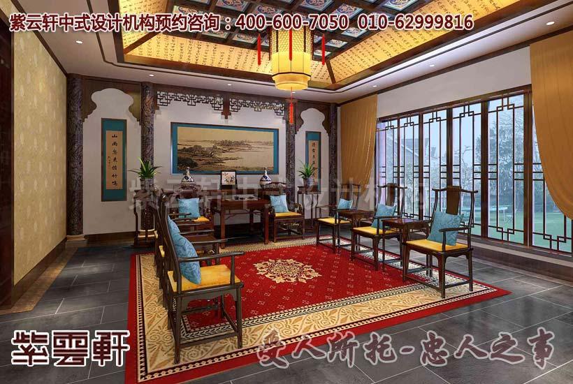 现代中式别墅客厅设计装修效果图
