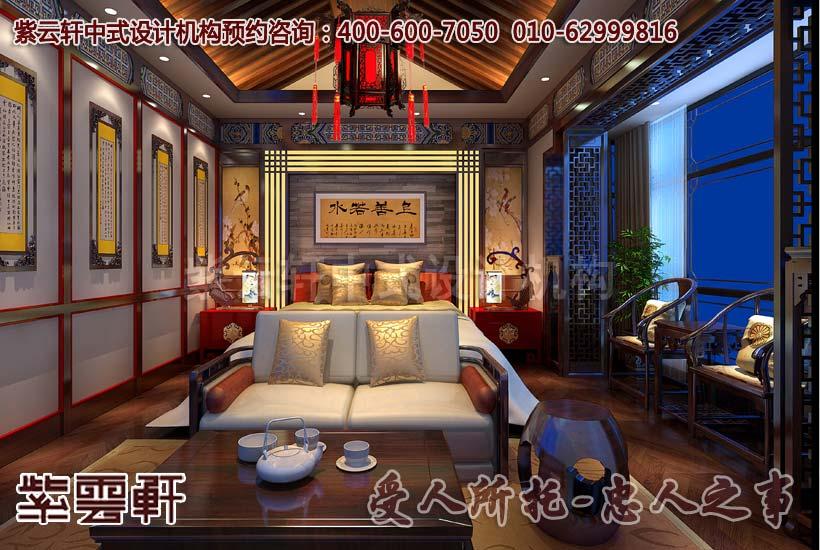 现代中式别墅卧室设计装修效果图