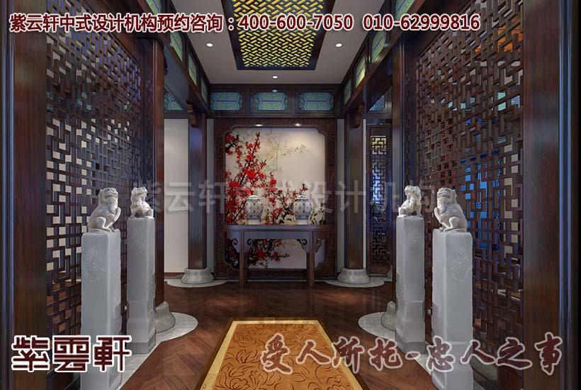 中式会所门厅设计装修效果图