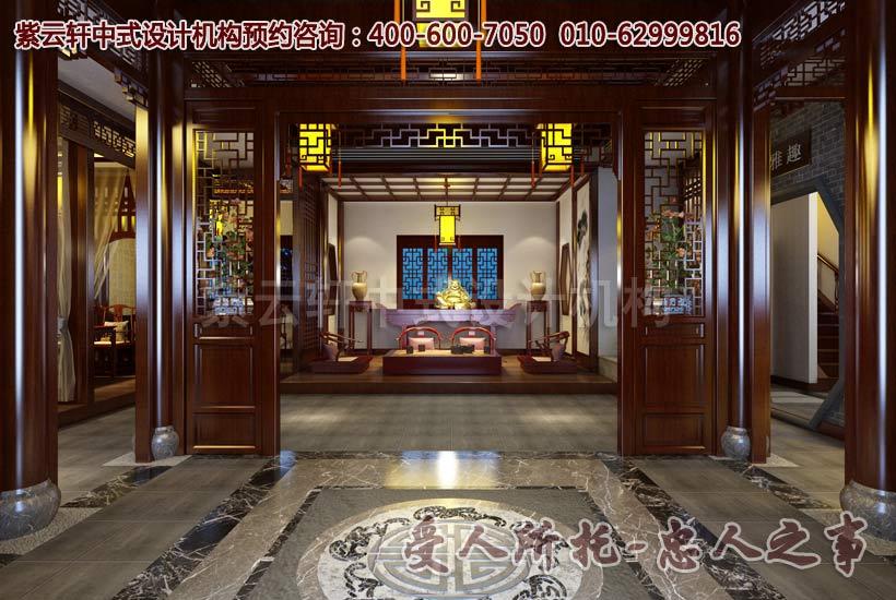 茶楼一层大厅中式设计效果图