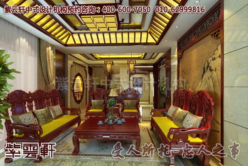 别墅客厅中式装修效果图一